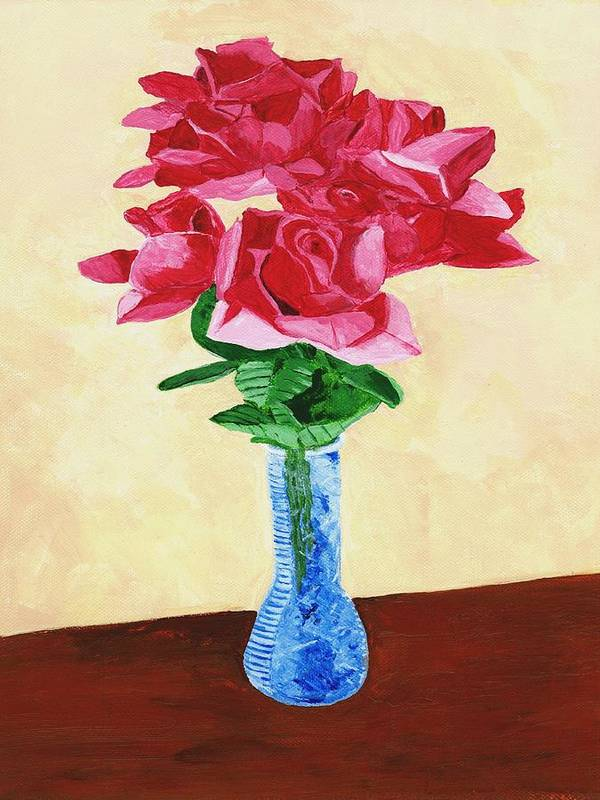 Red Roses Art Print featuring the painting Vase Of Red Roses by Rodney Campbell