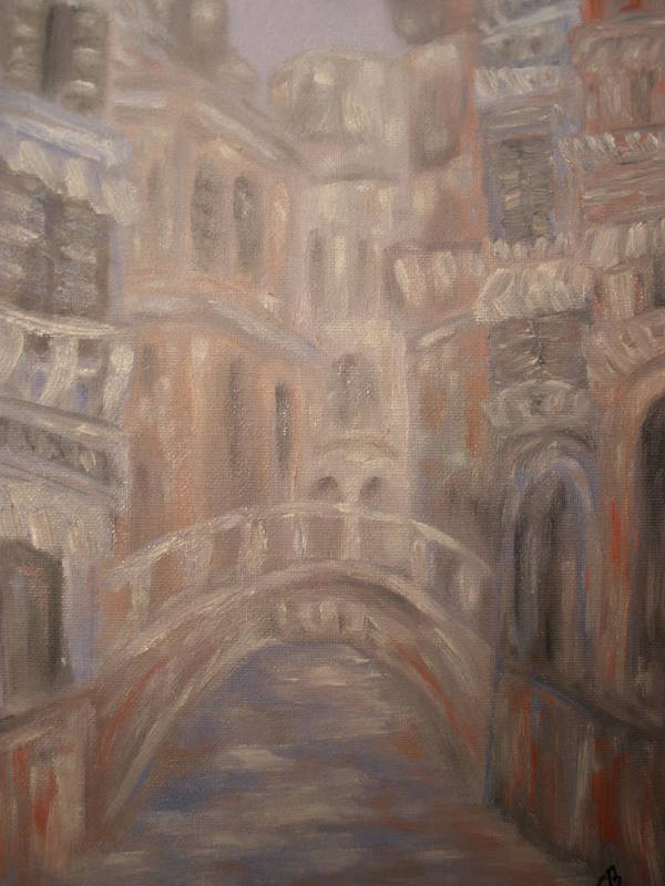 Venice Art Print featuring the painting Venice Bridge by Carrie Mayotte