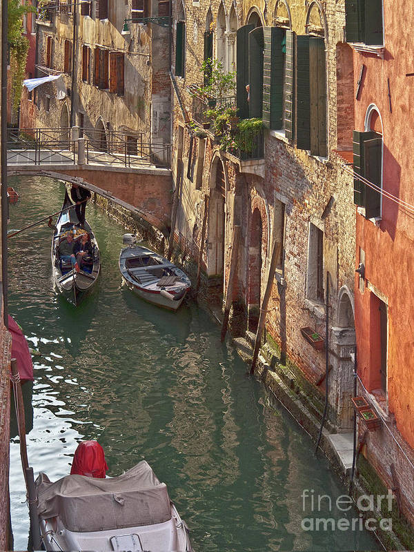 Venice Art Print featuring the photograph Venice Ride With Gondola by Heiko Koehrer-Wagner
