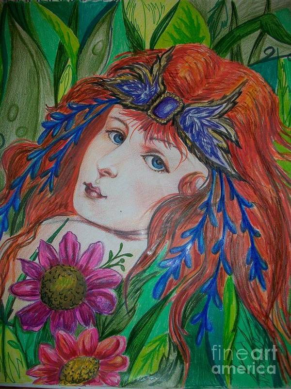 Fairy Art Print featuring the drawing Victorian Fairy by Arlene Mcloughlin
