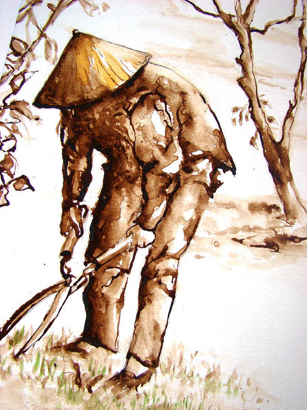 Vietnam Art Print featuring the painting Vietnamese Gardener by Myra Evans