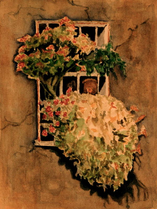 Flowers Art Print featuring the painting View From A Roman Window by Dan Earle
