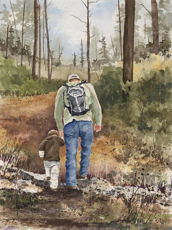 Walk Print featuring the painting Vince And Sam by Sam Sidders