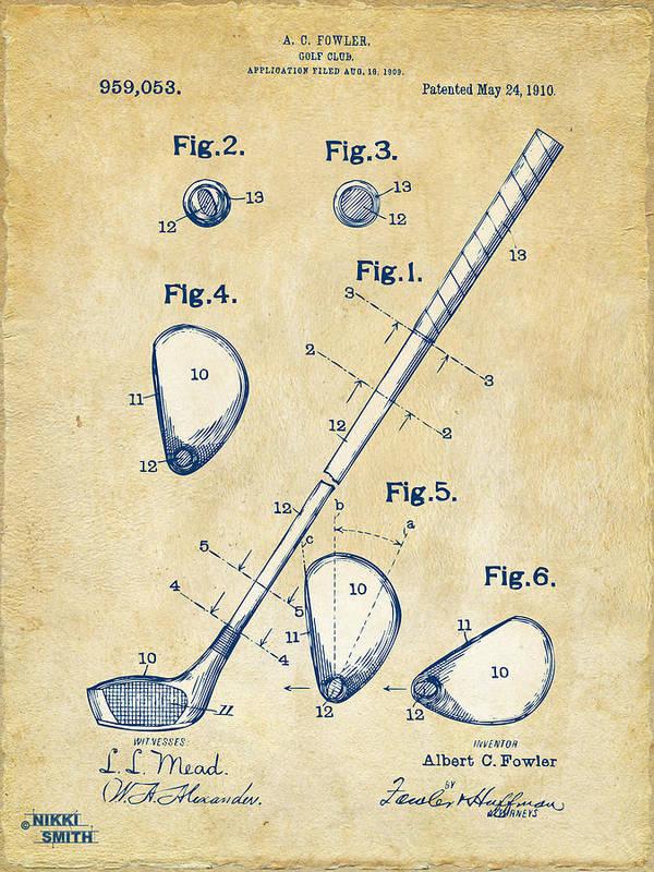 Golf Art Print featuring the digital art Vintage 1910 Golf Club Patent Artwork by Nikki Marie Smith