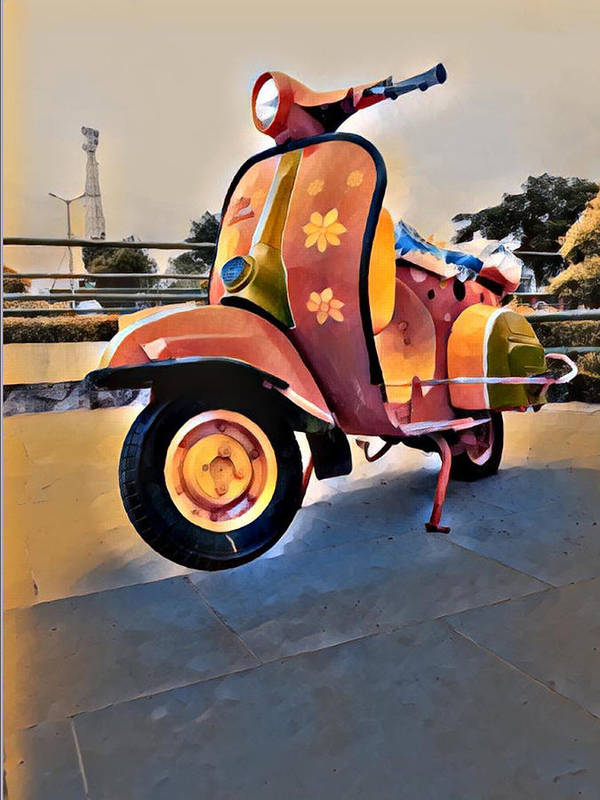 Scooter Art Print featuring the photograph Vintage Scooter by Satyajit Kharkar