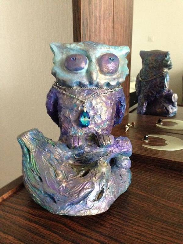 Handcrafted Terracotta Owl Art Print featuring the sculpture Violet Owl by Marija Kovacevic