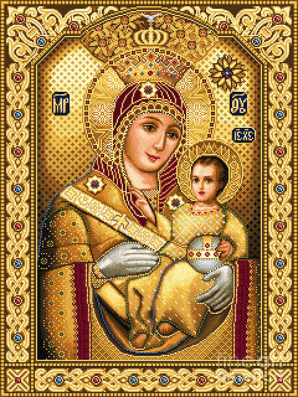 Virgin Mary Of Bethlehem Icon Orthodox Needlework Jesus Child Art Print featuring the tapestry - textile Virgin Mary Of Bethlehem Icon by Stoyanka Ivanova
