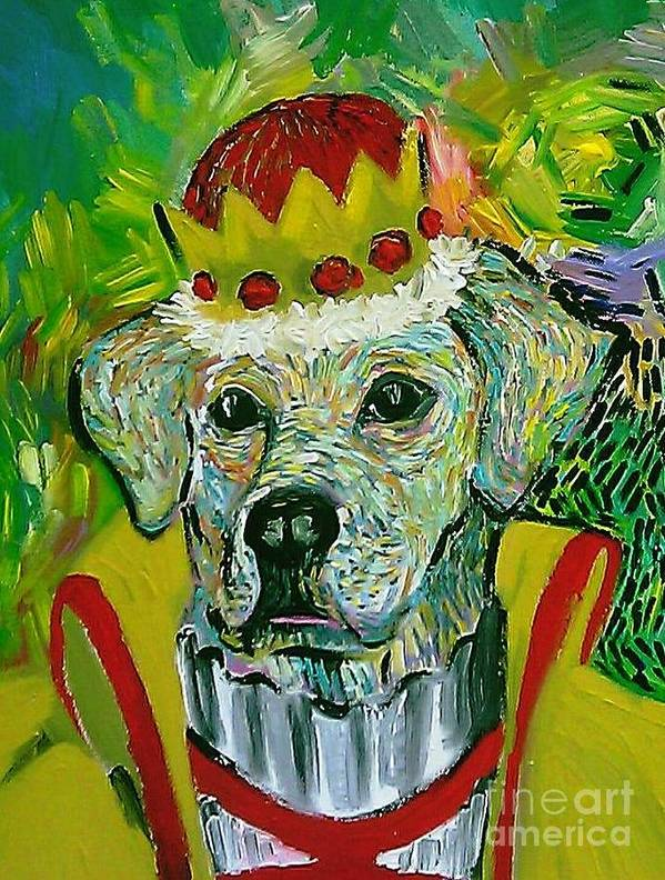 Dog Art Print featuring the painting Vom Schloss Altenau by Raluca Nedelcu