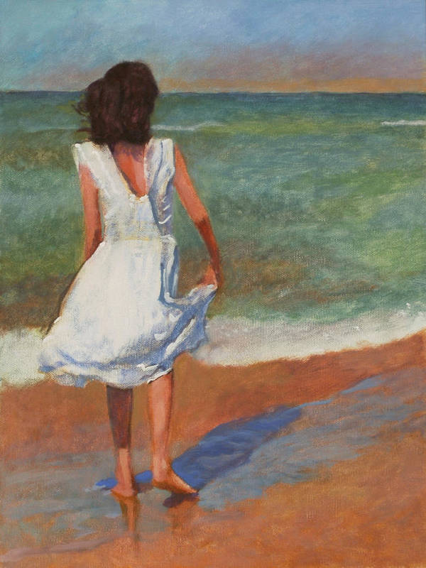 Girl Art Print featuring the painting Wading by Robert Bissett
