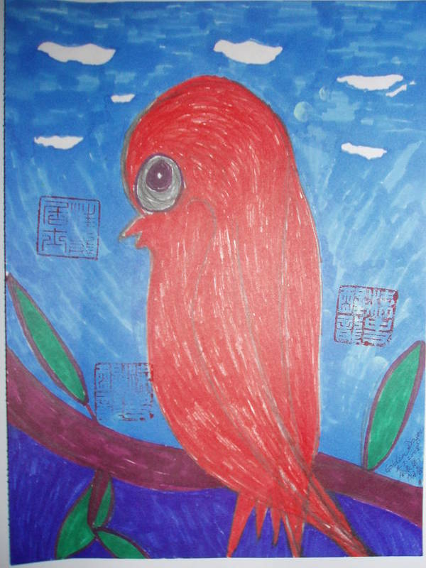 Bird Art Print featuring the painting Waiting For Mr. Right by Golden Dragon