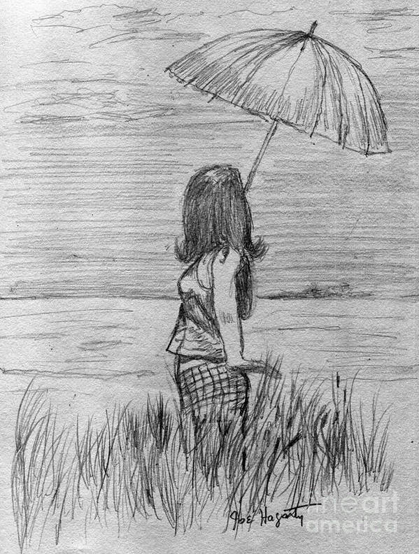 Rain Art Print featuring the drawing Walking In The Rain by Joe Hagarty