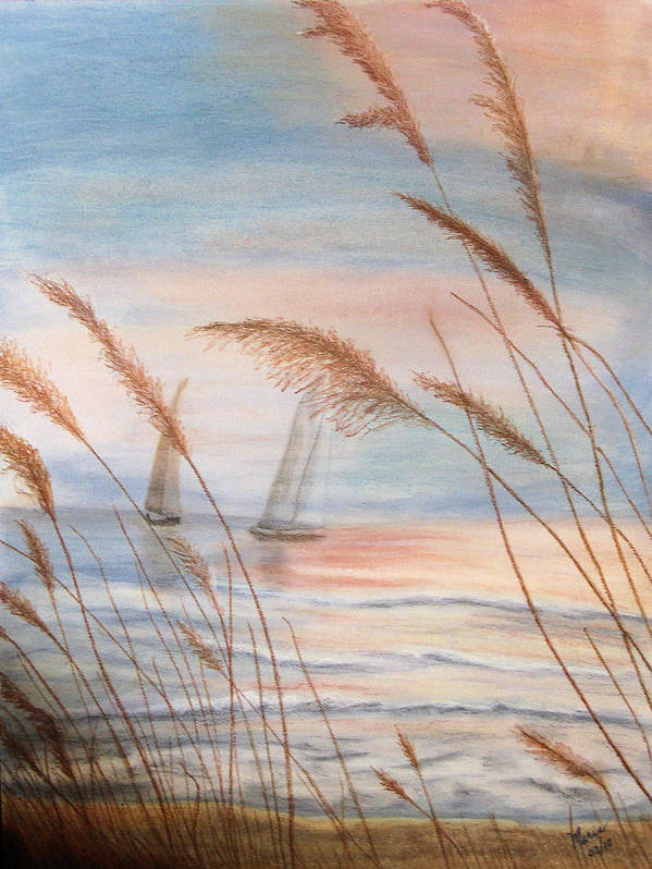 Ocean Art Print featuring the pastel Watching The Sails by Maris Sherwood