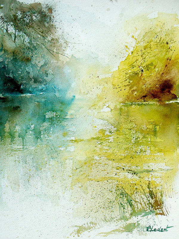 Pond Nature Landscape Art Print featuring the painting Watercolor 24465 by Pol Ledent