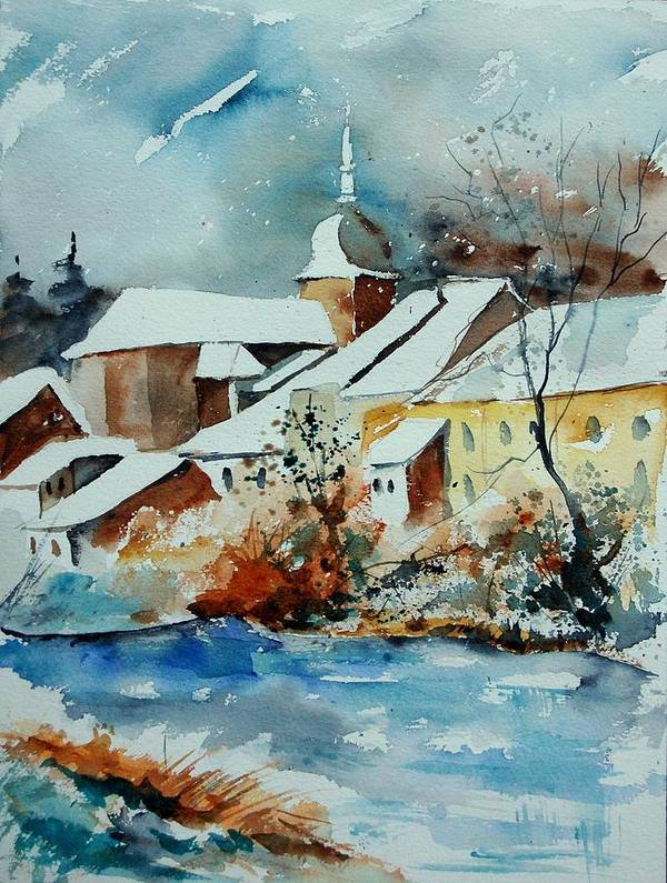 Landscape Art Print featuring the painting Watercolor Chassepierre by Pol Ledent