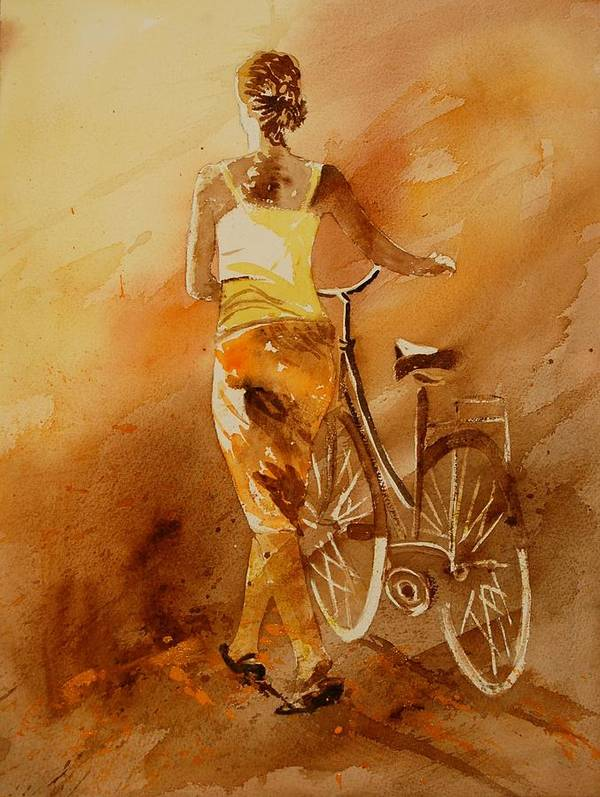 Figurative Art Print featuring the painting Watercolor With My Bike by Pol Ledent