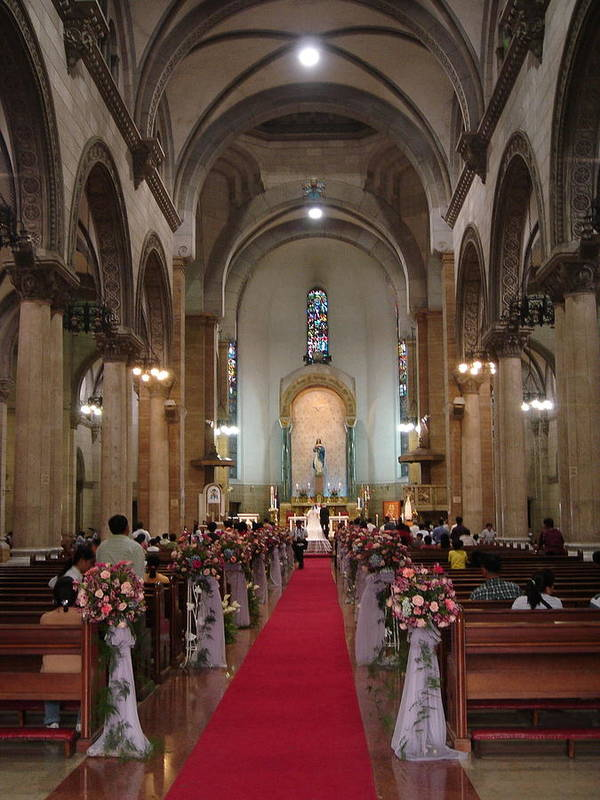 Manila Art Print featuring the photograph Wedding In Manila Cathedral by Mike Holloway