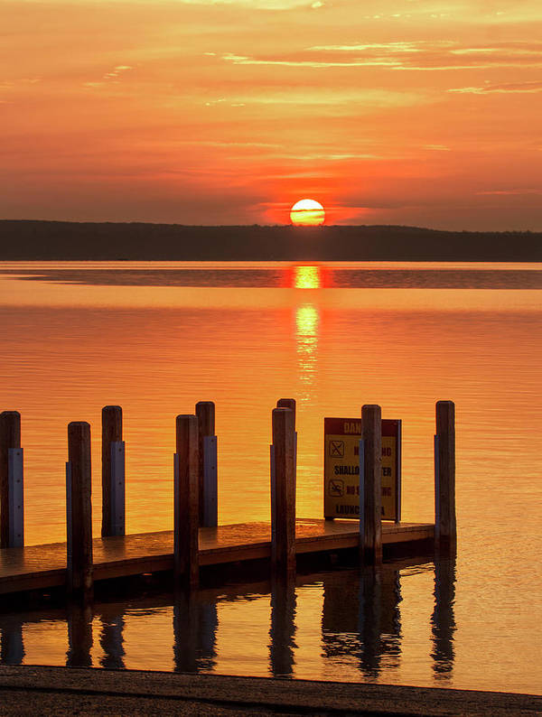 Dnr Art Print featuring the photograph West Dnr Boat Launch July Sunrise by Ron Wiltse