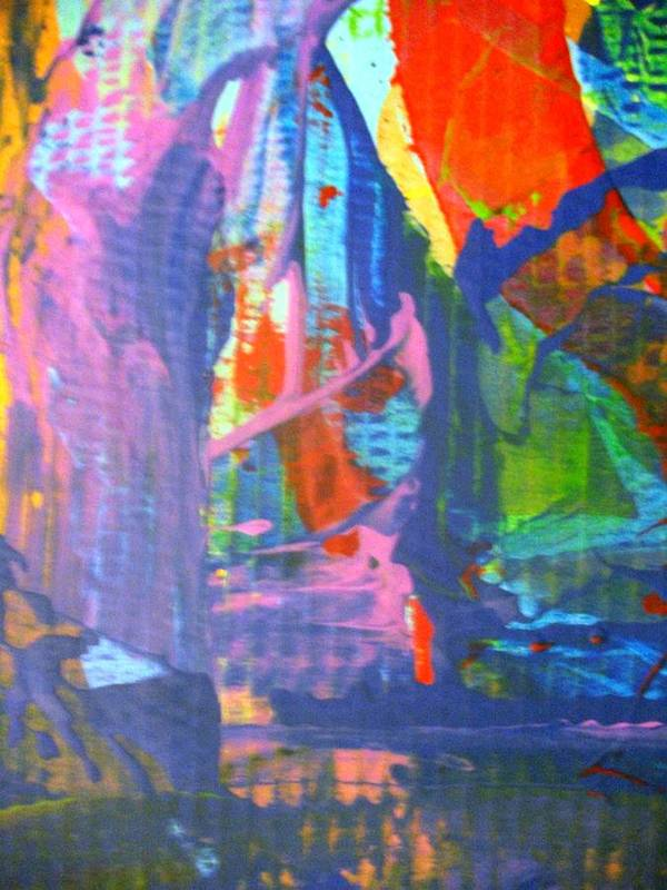 Abstract Art Print featuring the painting When A Lone Tree Is Felled Into A Forest Pool Does Anybody Hear Its Scream by Bruce Combs - REACH BEYOND