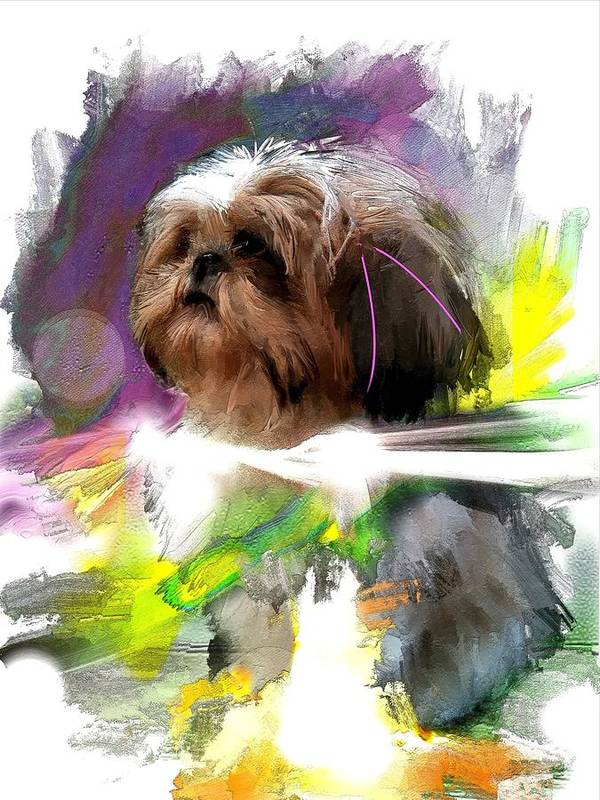 Dog Art Print featuring the digital art Where The Light Comes In by Richard Okun