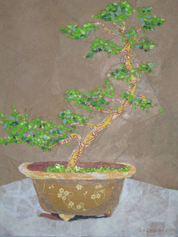 Banzai Tree Art Print featuring the painting Windswept Juniper by Leah Tomaino