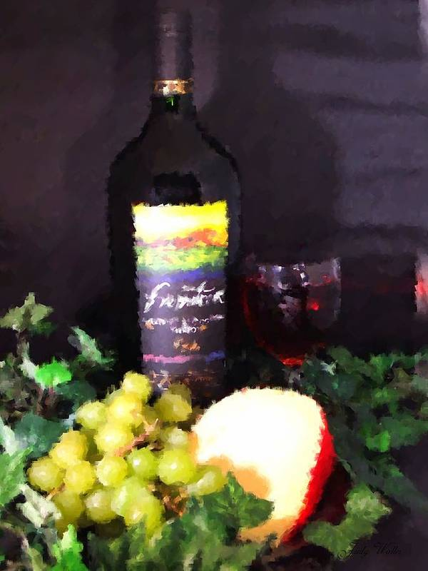 Wine Art Print featuring the photograph Wine And Cheese by Judy Waller
