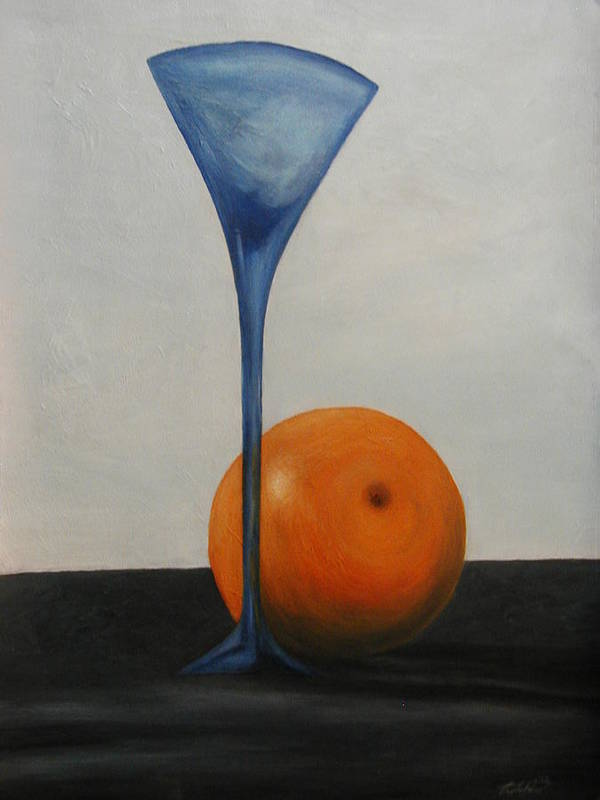 Still-life Art Print featuring the painting Wine Glass And Orange by Angelo Thomas