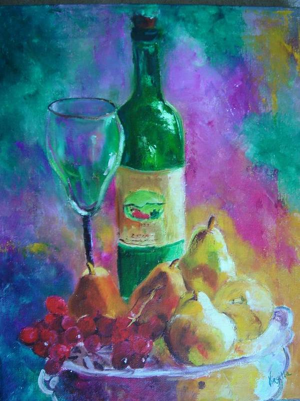 Still Life Art Print featuring the painting Wine Grapes And Pears by Virgilla Lammons