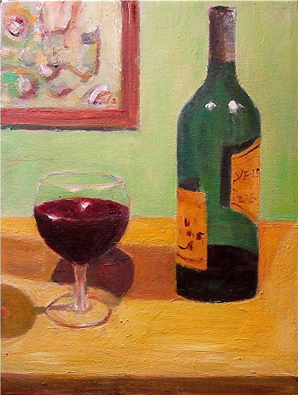 Still Life Drinks Food Art Print featuring the painting Wine by Udi Peled