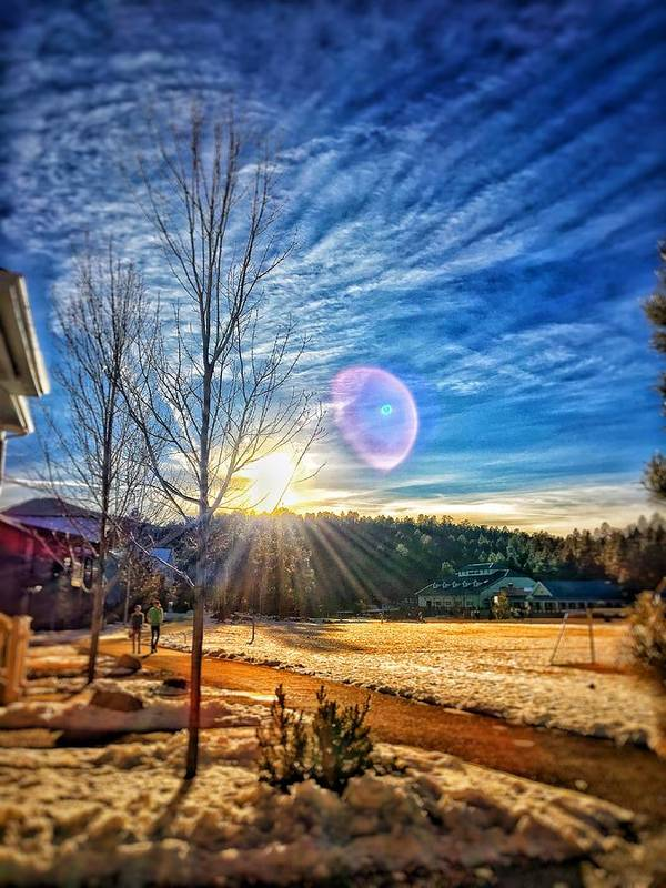 Trees Snow Sun Mountain Arizona Northern Town Williams Art Print featuring the photograph Winter Up North by Brandon Stevens
