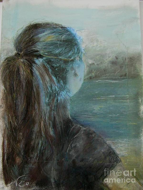 Painting Art Print featuring the painting Woman At Bay by Sigalit Aharoni