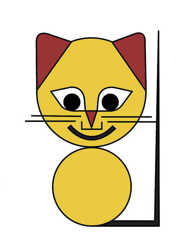 Cat Art Print featuring the digital art Yellow Cat by Asbjorn Lonvig