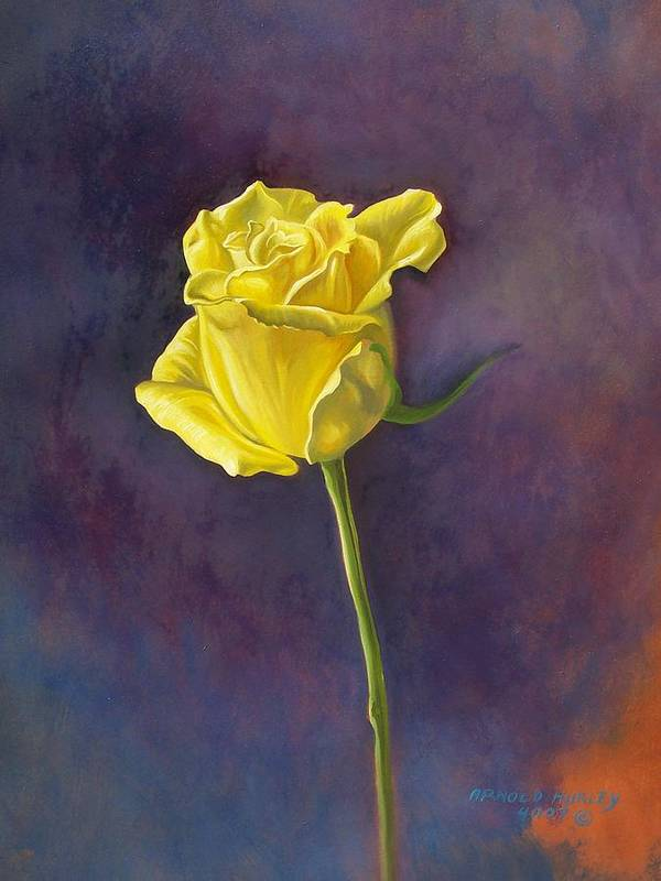Floral Art Print featuring the painting Yellow Rose by Arnold Hurley