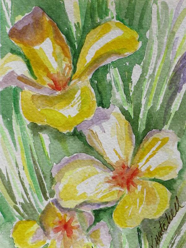 Floral Art Print featuring the painting Yellow Wild Flowers II by Kathy Mitchell
