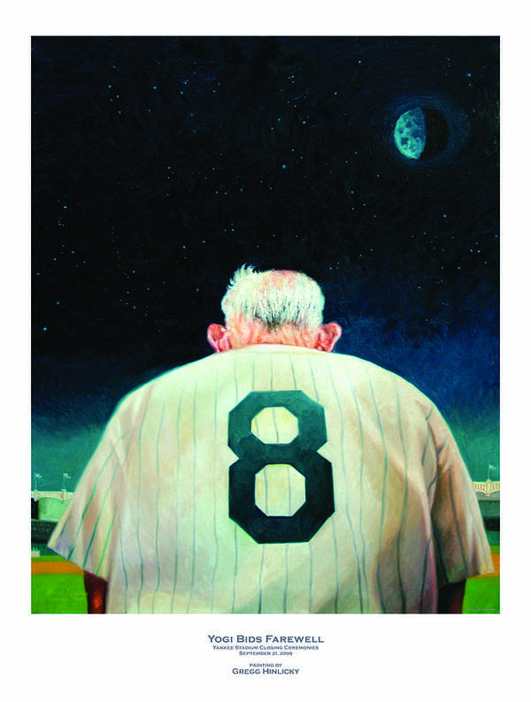 Baseball Art Print featuring the painting Yogi Bids Farewell by Gregg Hinlicky