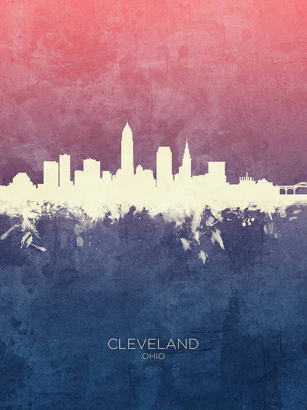 Cleveland Art Print featuring the digital art Cleveland Ohio Skyline by Michael Tompsett