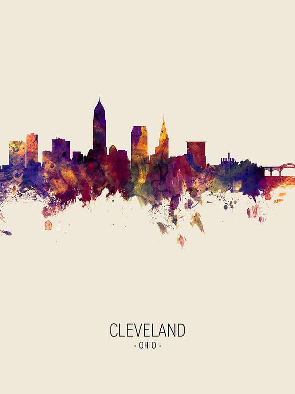 Cleveland Art Print featuring the digital art Cleveland Ohio Skyline by Michael Tompsett