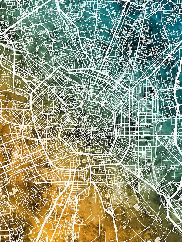 Milan Art Print featuring the digital art Milan Italy City Map by Michael Tompsett