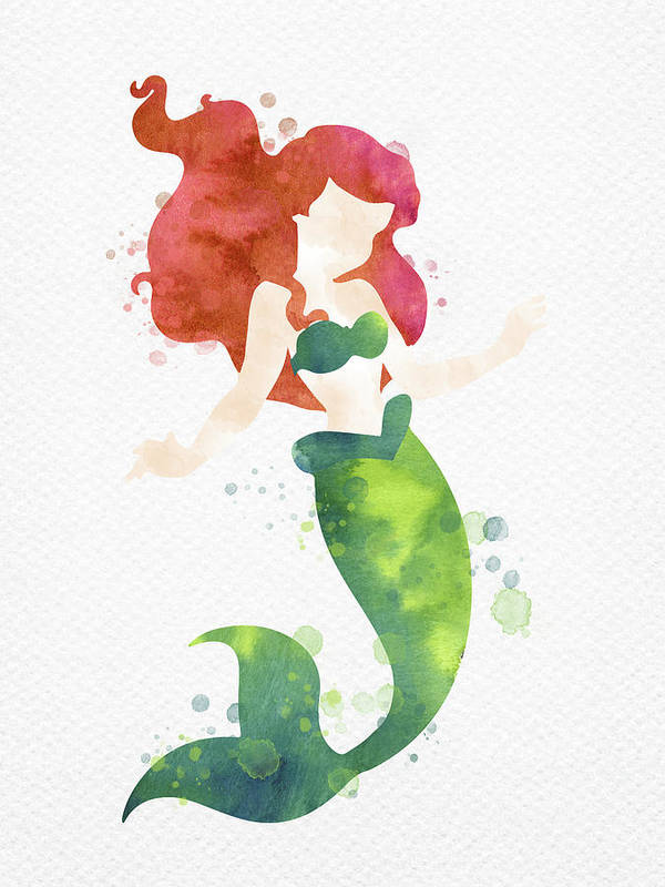 Ariel Art Print featuring the digital art Ariel Watercolor by Mihaela Pater