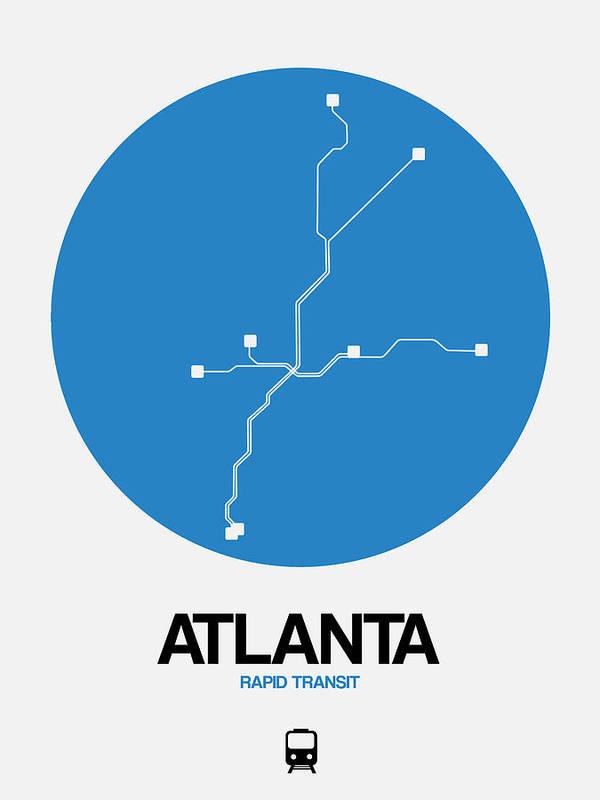 Atlanta Art Print featuring the digital art Atlanta Blue Subway Map by Naxart Studio
