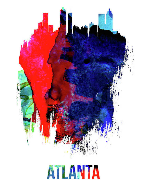 Great Collection Of Brush Stroke Skyline Art. Major Cities And Capitals In United States Art Print featuring the mixed media Atlanta Skyline Brush Stroke Watercolor  by Naxart Studio