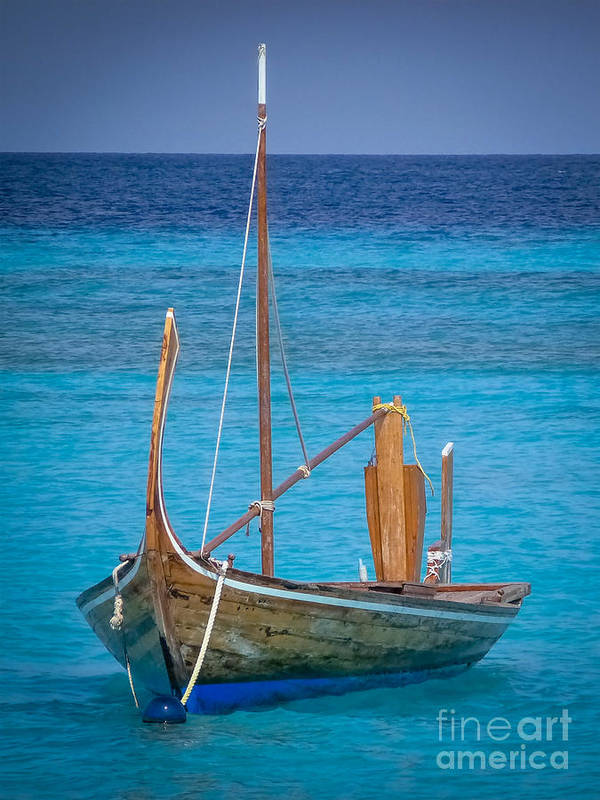 Boat Art Print featuring the digital art Boat In The Blue by Eric Nagel