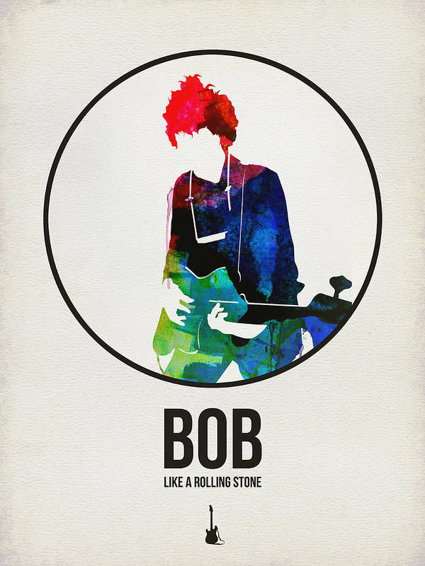 Collection Of The Minimalist Music Posters. Simple And Clean Design Themes Celebrate A Variety Of Music Artists As Well As Classical Composers. Please Visit Us At Www.naxart.com To See More Art Art Print featuring the digital art Bob Dylan Watercolor by Naxart Studio