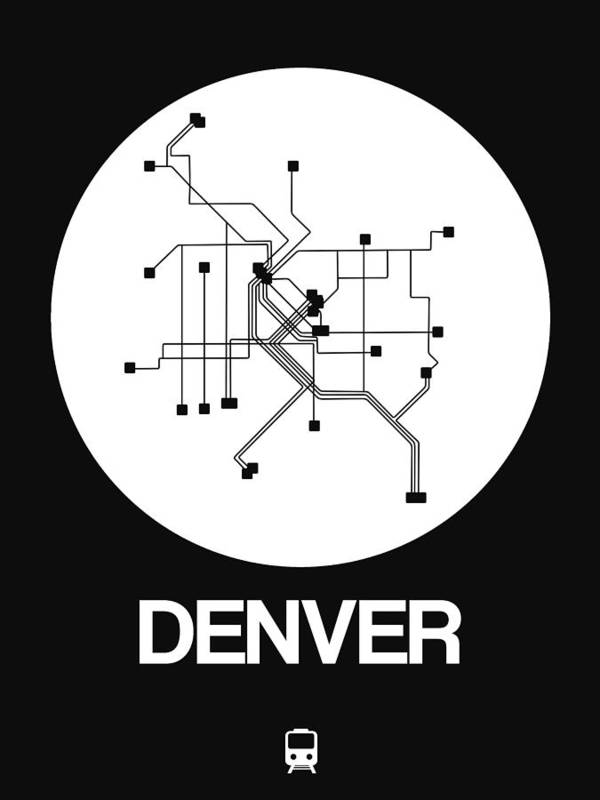 Vacation Art Print featuring the digital art Denver White Subway Map by Naxart Studio