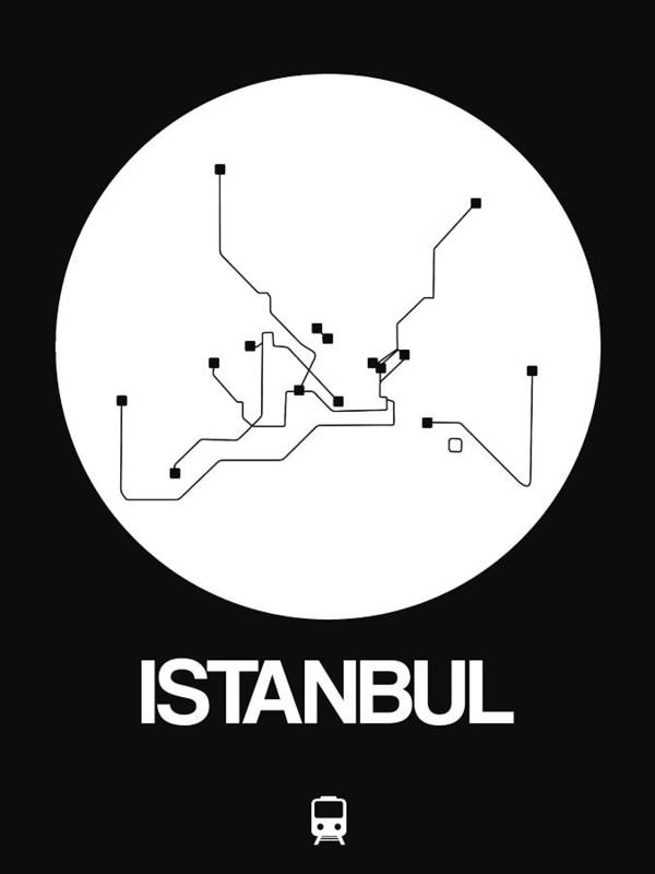 Istanbul Art Print featuring the digital art Istanbul White Subway Map by Naxart Studio