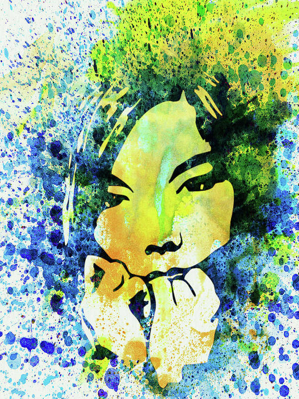 Bjork Art Print featuring the mixed media Legendary Bjork Watercolor II by Naxart Studio