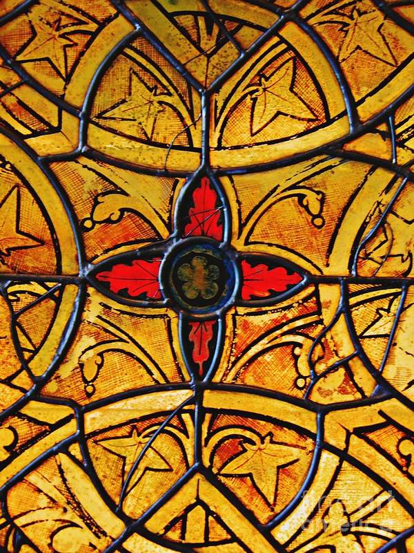 Glass Art Print featuring the photograph Medieval Stained Glass Abstract 4 by Sarah Loft