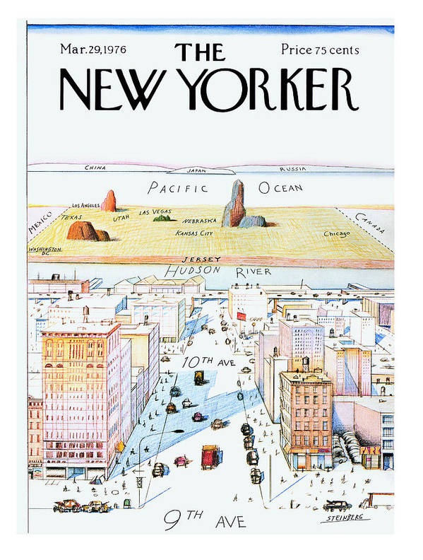 #condenastnewyorkercover Art Print featuring the painting New Yorker March 29, 1976 by Saul Steinberg