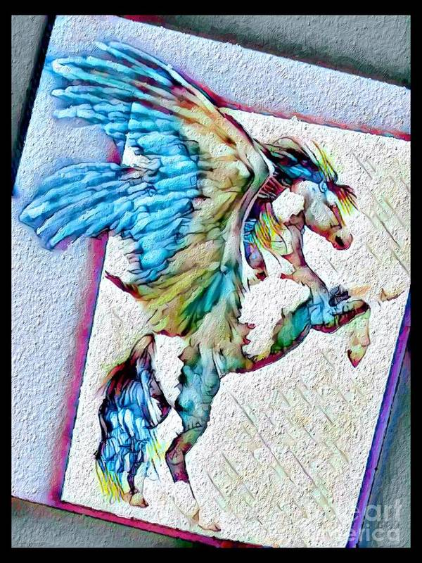 Original Composition By Breenabriggemanart ©2019 Pegasus Wings Horse Fantasy Colorful Bright Black Border Off Center Living Dining Bedroom Bathroom Business Office Vacation Animals Spotted Teens Children Equestrian Lovers Feminine Contemporary Modern Art Canvas Acrylic Prints Painting Wood Metal Tote Bags Yoga Mats Framed Giclee Gallery Duvet Cover Pillows Shower Curtains Towels Art Print featuring the mixed media Painted Pegasus by Breena Briggeman