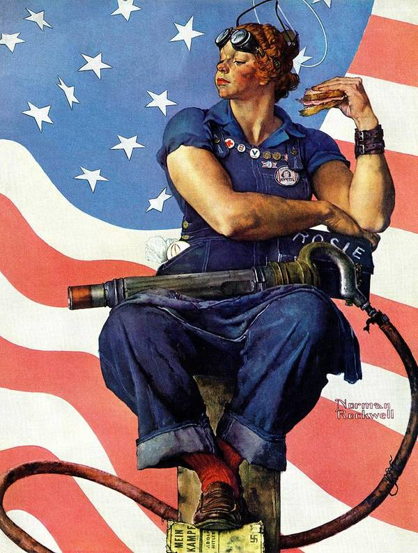 Factories Art Print featuring the drawing Rosie The Riveter by Norman Rockwell