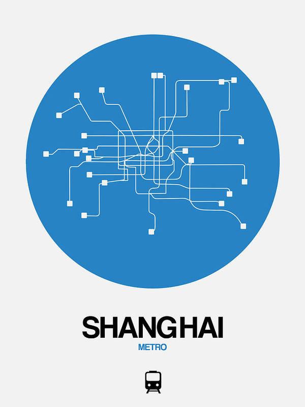 Vacation Art Print featuring the digital art Shanghai Blue Subway Map by Naxart Studio